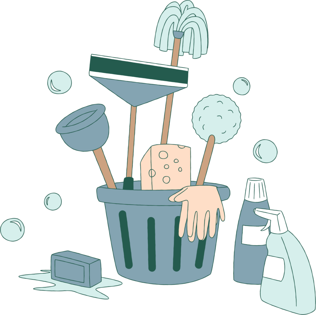 bucket with sponge, cleaning products, soap and toilet plunger.